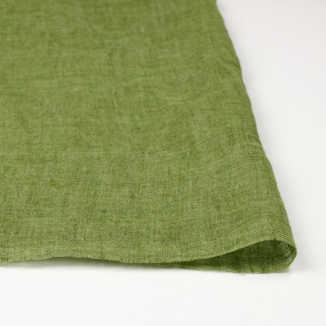 リネン×無地(グリーン)×ガーゼ_全5色_イタリア製 イメージ3
