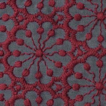ポリエステル&ウール×フラワー(エンジ)×サージ刺繍 サムネイル1