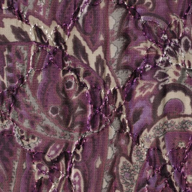 ポリエステル×ペイズリー(パープル)×ジョーゼット刺繍_全2色 イメージ1