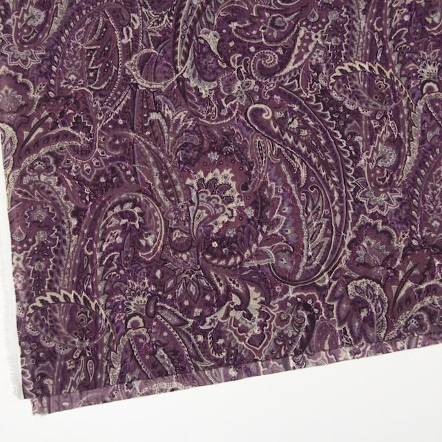 ポリエステル×ペイズリー(パープル)×ジョーゼット刺繍_全2色 イメージ2
