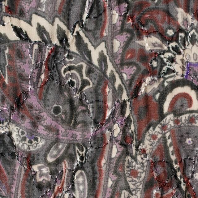ポリエステル×ペイズリー(チャコール)×ジョーゼット刺繍_全2色 イメージ1
