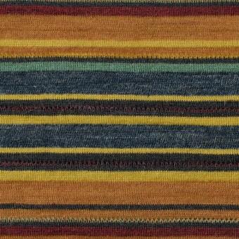 ウール&アクリル×ボーダー(オレンジ&ブルーグレー)×天竺ニット_全2色
