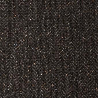 ポリエステル&ウール混×無地(ブラウン)×ヘリンボーンストレッチ_イタリア製