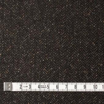 ポリエステル&ウール混×無地(ブラウン)×ヘリンボーンストレッチ_イタリア製 サムネイル4