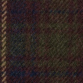 ウール×チェック(エンジ&カーキグリーン)×カルゼ サムネイル1
