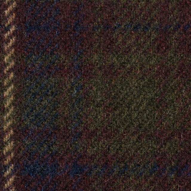 ウール×チェック(エンジ&カーキグリーン)×カルゼ イメージ1
