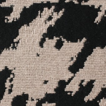 ウール×幾何学模様(グレイッシュベージュ&ブラック)×風通織ジャガード サムネイル1