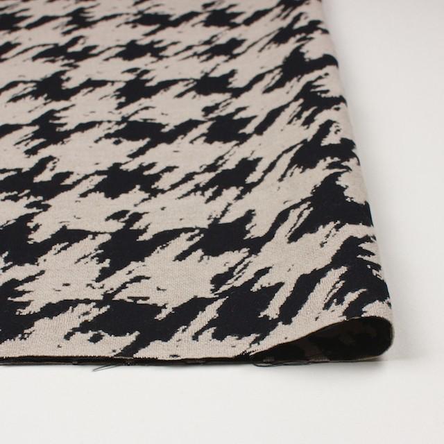 ウール×幾何学模様(グレイッシュベージュ&ブラック)×風通織ジャガード イメージ3