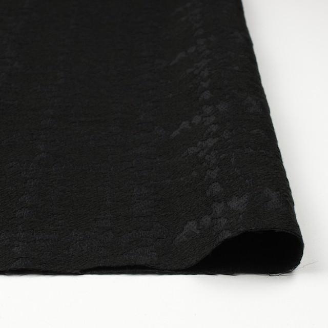 ウール&キュプラ×幾何学模様(ブラック)×ジャガード_全2色 イメージ3