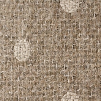 アクリル&ウール混×ドット(オートミール)×ファンシーツイード刺繍_イタリア製 サムネイル1