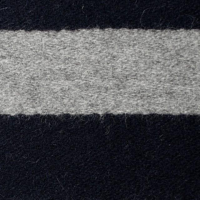 ウール×ボーダー(ネイビー&グレー)×フラノ(フランネル) イメージ1