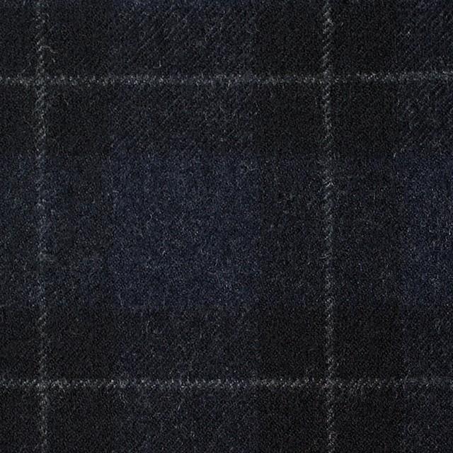 ウール×チェック(ダークネイビー&ブラック)×サージ イメージ1