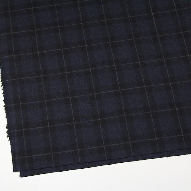 ウール×チェック(ダークネイビー&ブラック)×サージ イメージ2
