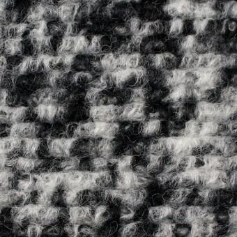 ウール&ポリエステル×モザイク(オフホワイト&ブラック)×ループニット サムネイル1