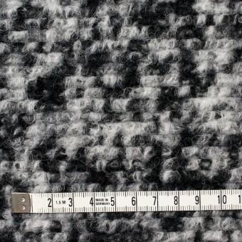 ウール&ポリエステル×モザイク(オフホワイト&ブラック)×ループニット サムネイル4