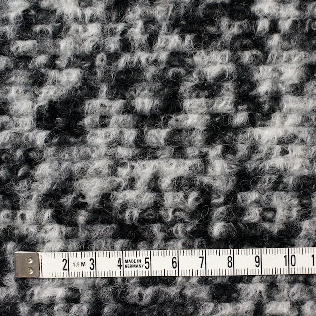 ウール&ポリエステル×モザイク(オフホワイト&ブラック)×ループニット イメージ4