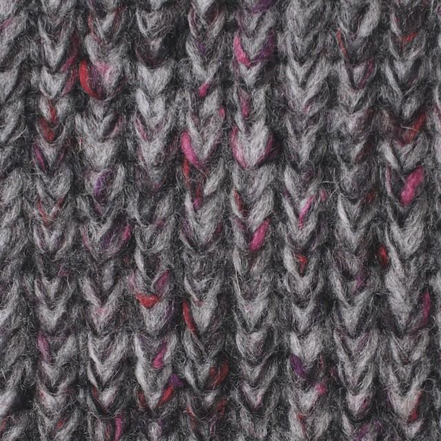 ウール×ミックス(グレー&ピンク)×リブ編みニット イメージ1