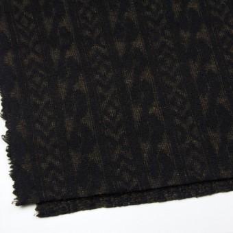 ウール&ポリエステル×幾何学模様(ブラック&ダークブラウン)×ジャガードニット_イタリア製 サムネイル2