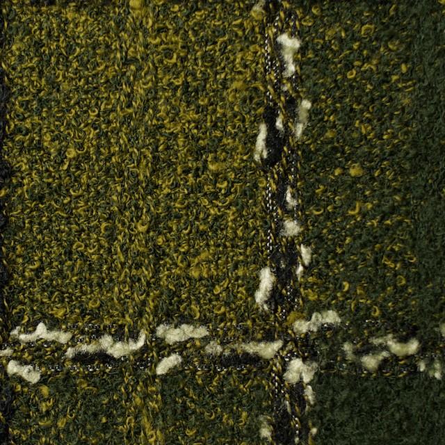 ウール&テンセル混×チェック(モス&ミモザ)×ファンシーツイード イメージ1