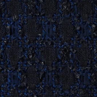ウール×ナイロン混×幾何学模様(ダークネイビー&ロイヤルブルー)×ファンシーツイード サムネイル1