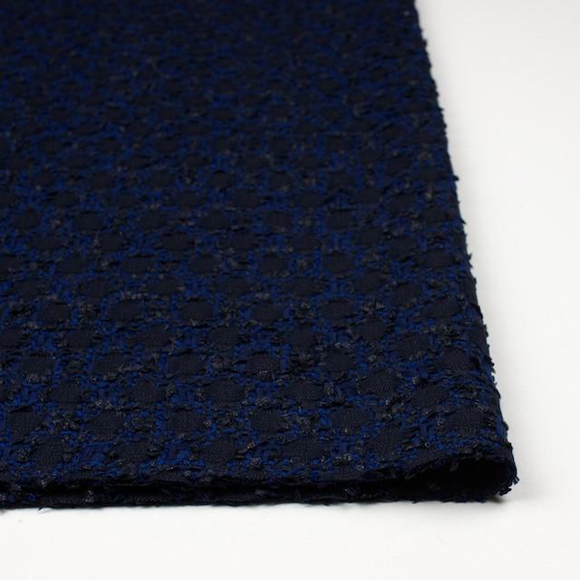 ウール×ナイロン混×幾何学模様(ダークネイビー&ロイヤルブルー)×ファンシーツイード イメージ3