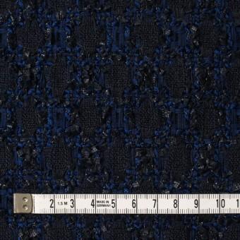 ウール×ナイロン混×幾何学模様(ダークネイビー&ロイヤルブルー)×ファンシーツイード サムネイル4