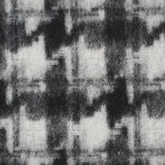 ウール&ポリエステル×チェック(アイボリー&ブラック)×千鳥格子_全2色