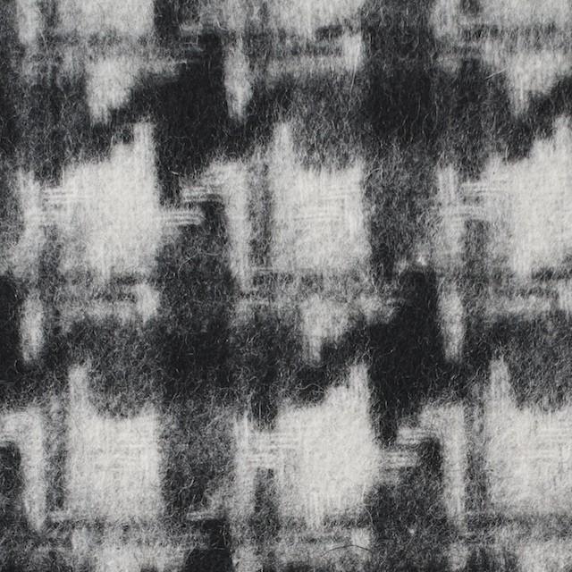 ウール&ポリエステル×チェック(アイボリー&ブラック)×千鳥格子_全2色 イメージ1