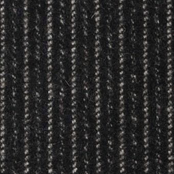 ウール&ナイロン×ストライプ(ブラック)×メルトン