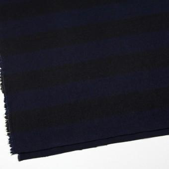 ウール×ボーダー(ネイビー&ブラック)×シャギー サムネイル2