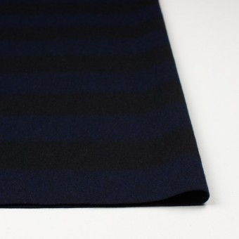 ウール×ボーダー(ネイビー&ブラック)×シャギー サムネイル3