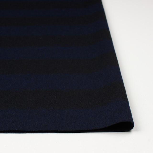 ウール×ボーダー(ネイビー&ブラック)×シャギー イメージ3