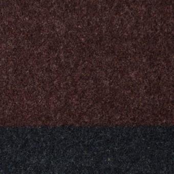 ウール×ボーダー(エンジ&チャコールグレー)×フラノ(フランネル)_全2色