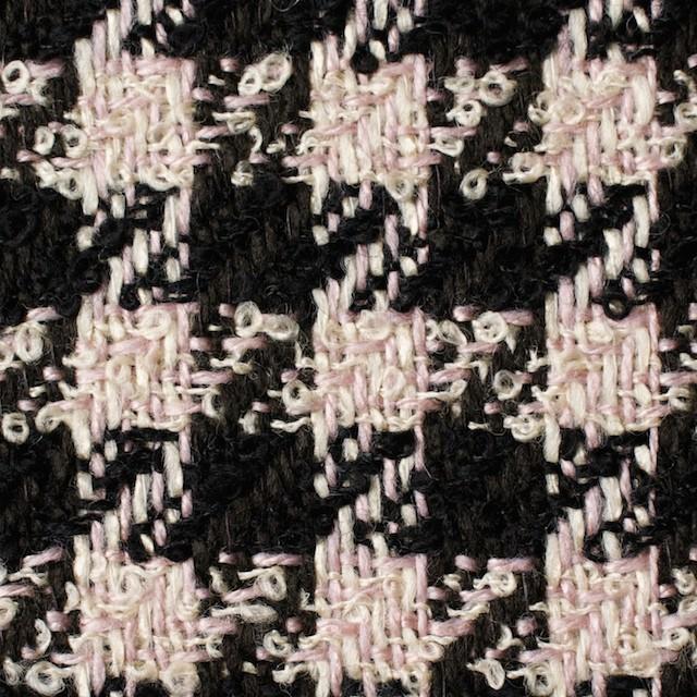 ウール&アクリル混×千鳥格子(ピンク&ブラック)×ファンシーツイード イメージ1