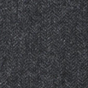 ウール&ナイロン混×無地(チャコールグレー)×ヘリンボーン・ストレッチ_全3色