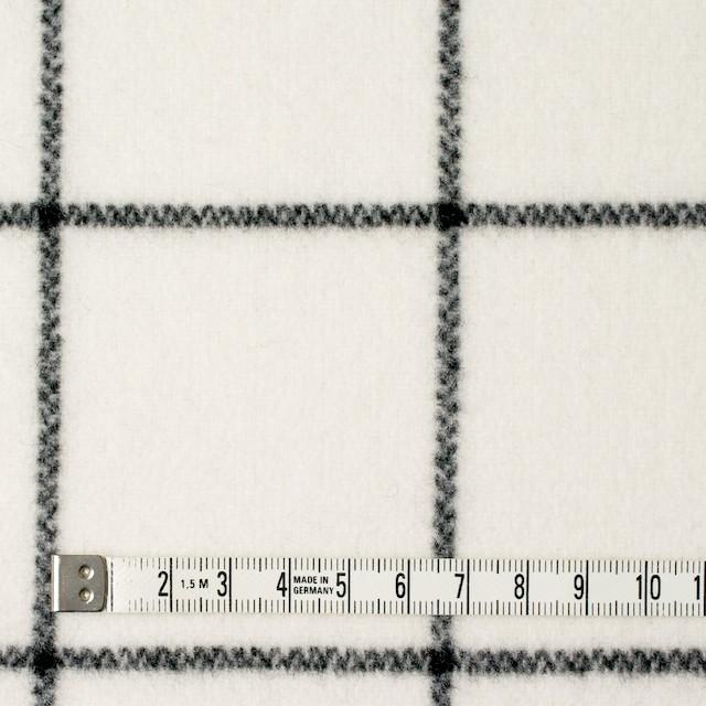 ウール×チェック(アイボリー)×メルトン_全2色 イメージ4
