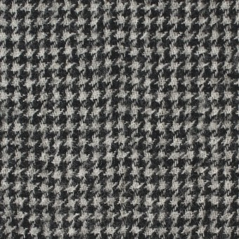 ウール×チェック(アイボリー&ブラック)×千鳥格子ガーゼ