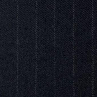 ウール&ポリウレタン×ストライプ(ダークネイビー)×サージ・ストレッチ