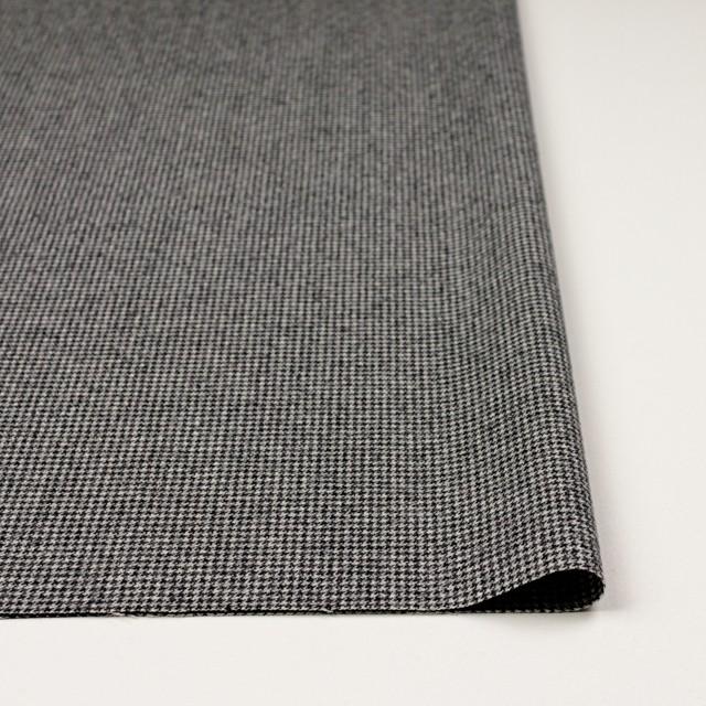 ウール&ポリウレタン×チェック(アイボリー&ブラック)×千鳥格子・ストレッチ イメージ3