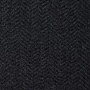 ウール×無地(チャコールブラック)×ヘリンボーン サムネイル1