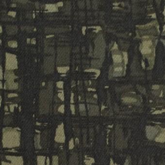 コットン&ポリウレタン×幾何学模様(カーキグリーン)×チノクロス・ストレッチ_全2色 サムネイル1
