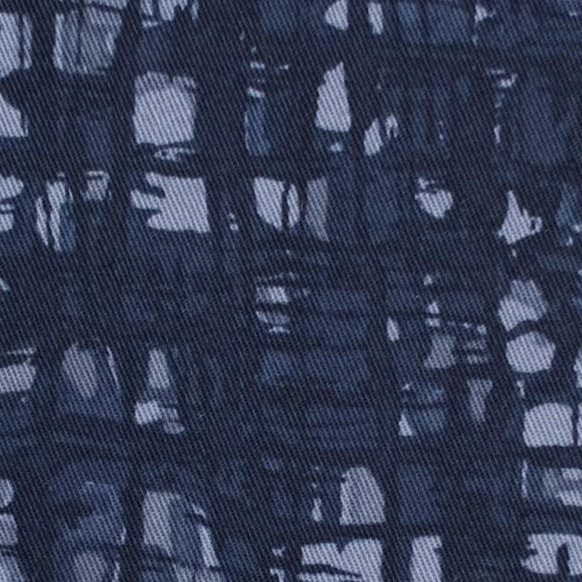 コットン&ポリウレタン×幾何学模様(アイアンネイビー)×チノクロス・ストレッチ_全2色 イメージ1