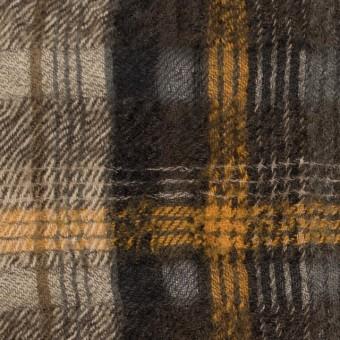ウール&コットン×チェック(ブラウンミックス)×ビエラ_全2色_イタリア製