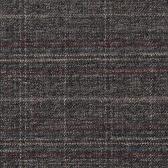 ポリエステル&レーヨン混×チェック(グレイッシュブラウン)×サージストレッチ