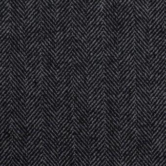 ウール&ポリエステル混×ミックス(グレー&ブラック)×ヘリンボーン・ストレッチ