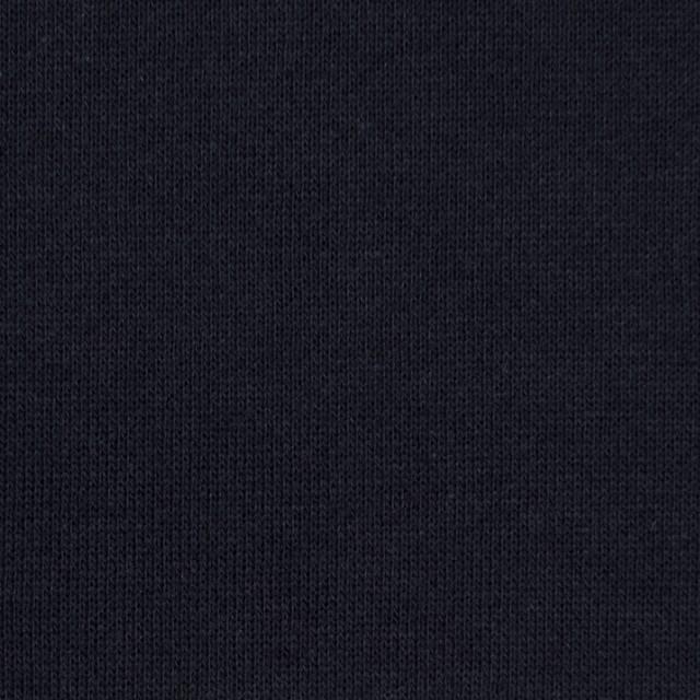 コットン×無地(ダークネイビー)×裏毛ニット(裏面起毛) イメージ1