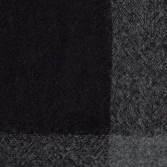 ウール×チェック(チャコールグレー&ブラック)×ガーゼ