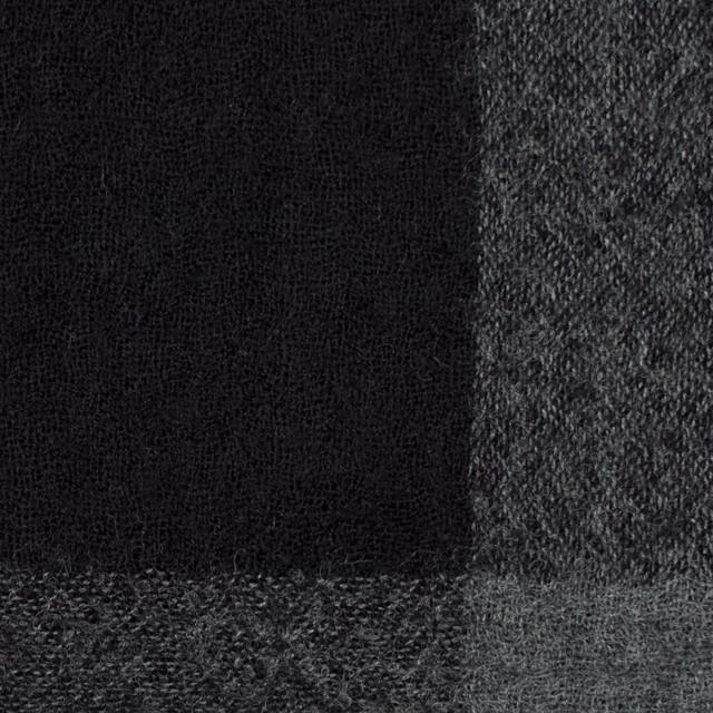 ウール×チェック(チャコールグレー&ブラック)×ガーゼ イメージ1