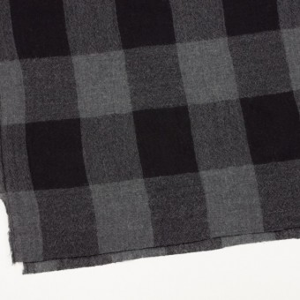 ウール×チェック(チャコールグレー&ブラック)×ガーゼ サムネイル2