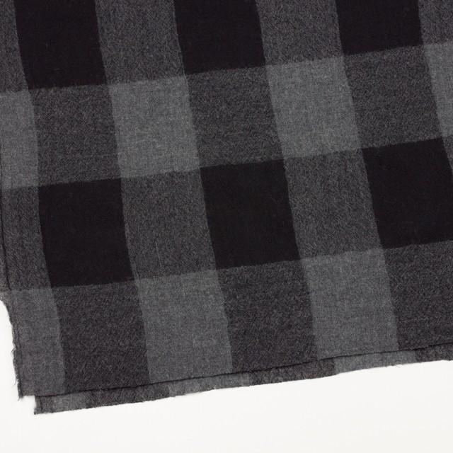 ウール×チェック(チャコールグレー&ブラック)×ガーゼ イメージ2